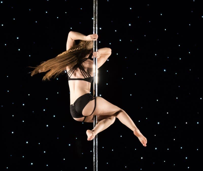 pole sit variation: snake spin (ouch!)